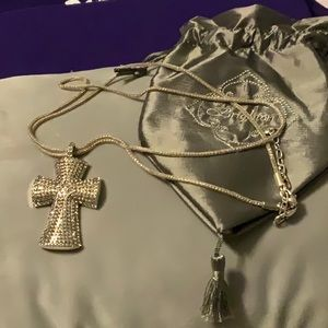 Brighton Jeweled Cross Necklace.  Reversible. NWOT